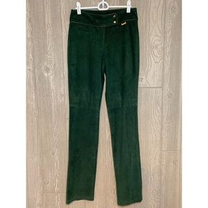 Ralph Lauren Black Label Green Suede Pants 2 NWT